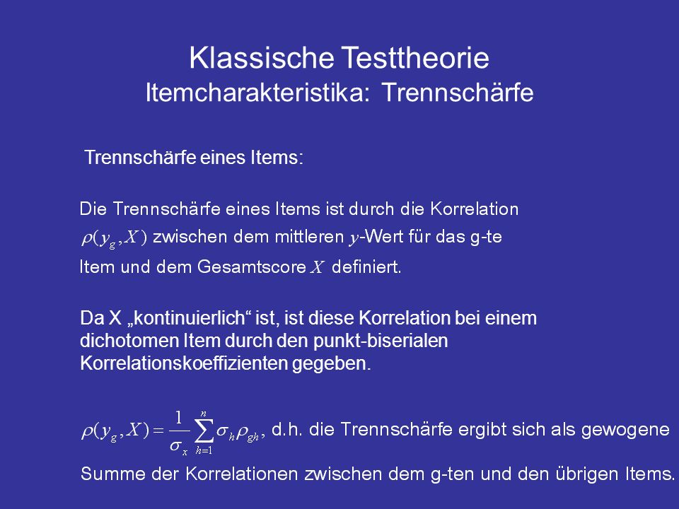 Klassische Testtheorie Itemcharakteristika: Trennschärfe