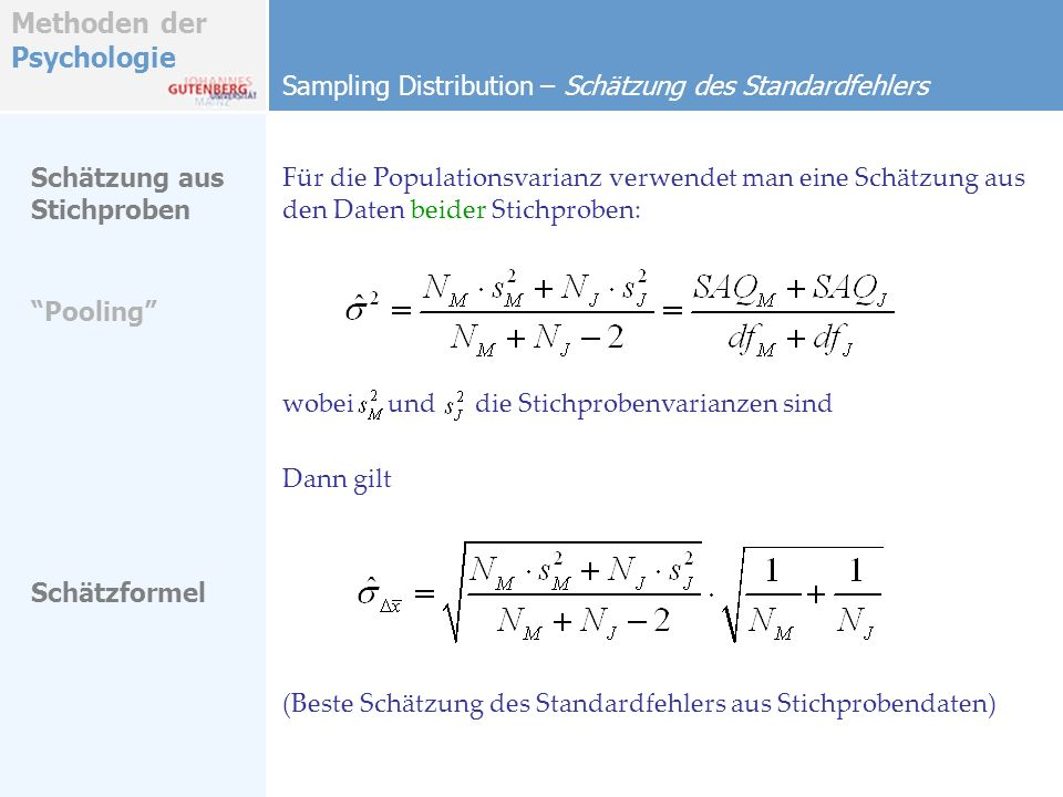 Sampling Distribution – Schätzung des Standardfehlers