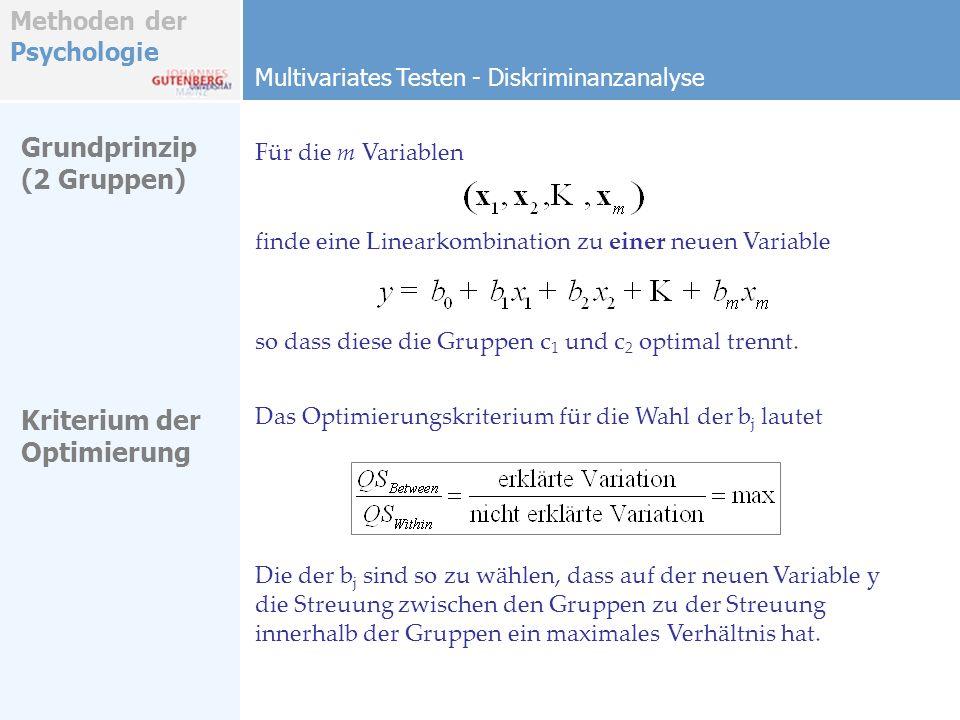 Grundprinzip (2 Gruppen) Kriterium der Optimierung