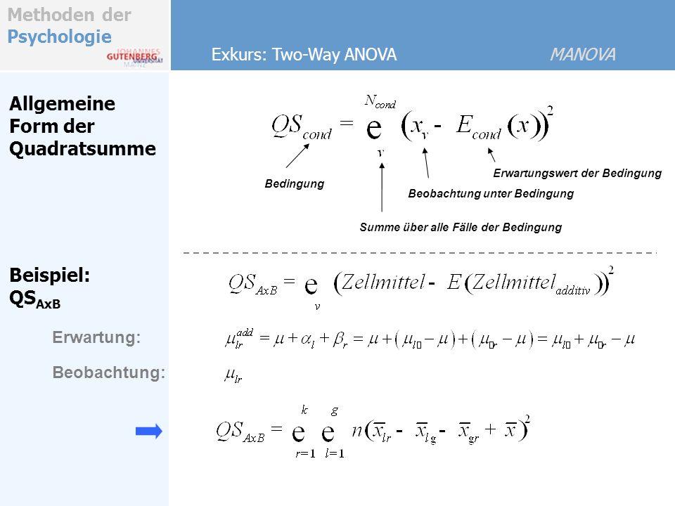 Allgemeine Form der Quadratsumme Beispiel: QSAxB