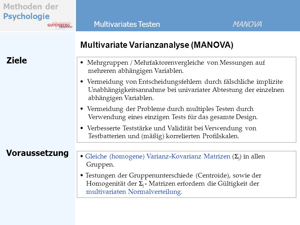 Multivariate Varianzanalyse (MANOVA)
