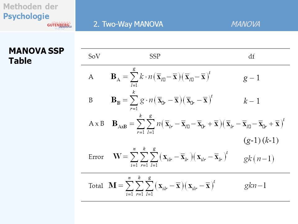 MANOVA SSP Table g - 1 k - 1 (g-1) (k-1) 2. Two-Way MANOVA MANOVA SoV