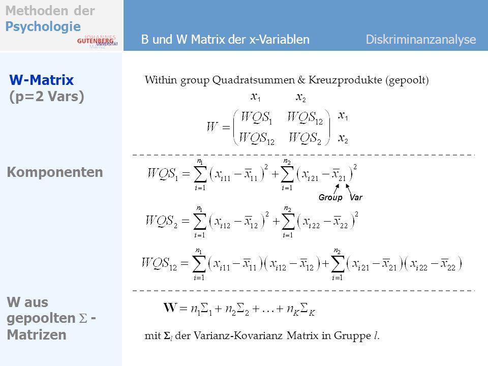 W-Matrix (p=2 Vars) x1 x2 x1 x2 Komponenten W aus gepoolten S -