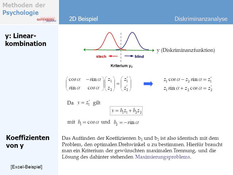 y: Linear- kombination Koeffizienten von y
