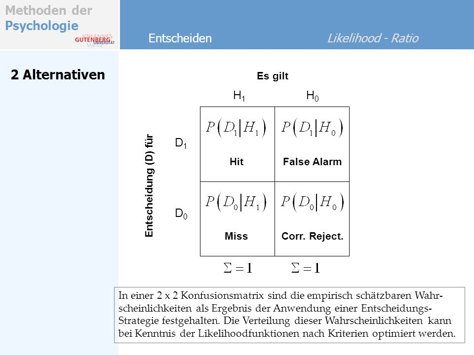 2 Alternativen Entscheiden Likelihood - Ratio H1 H0 D1 D0 Es gilt Hit