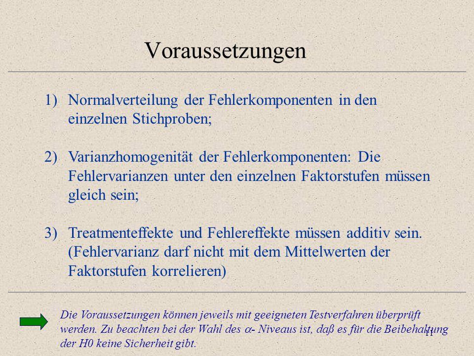 Voraussetzungen Normalverteilung der Fehlerkomponenten in den einzelnen Stichproben;