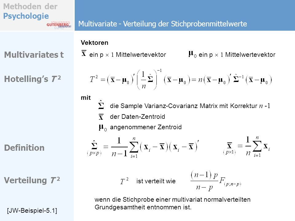 Multivariates t Hotelling's T 2 Definition Verteilung T 2