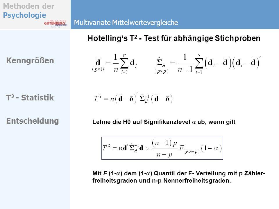 Hotelling's T2 - Test für abhängige Stichproben