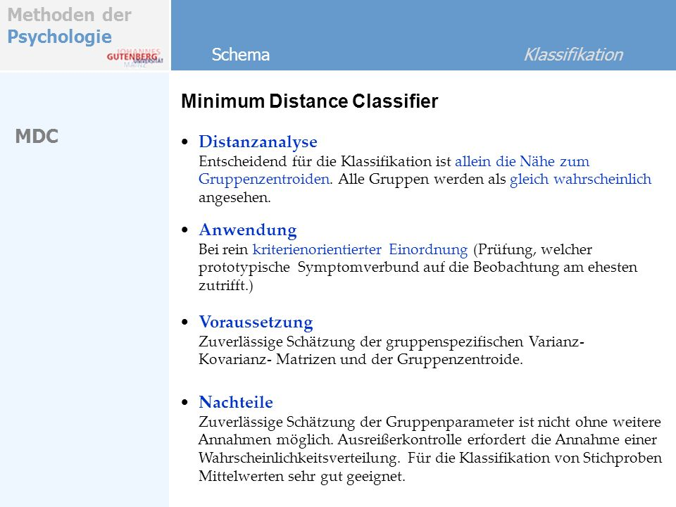 Minimum Distance Classifier