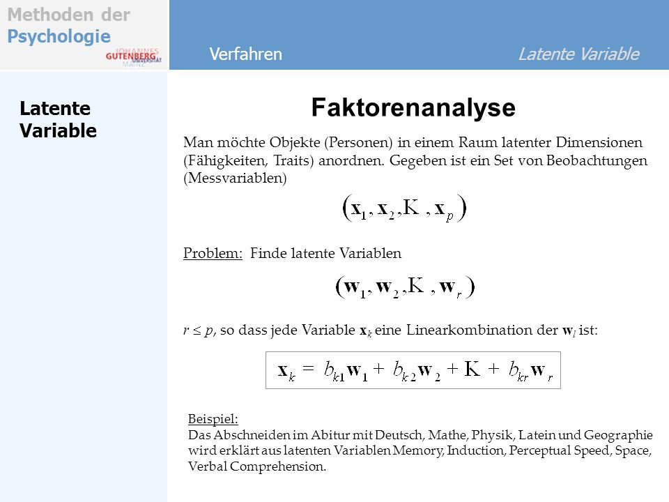 Faktorenanalyse Latente Variable Verfahren Latente Variable