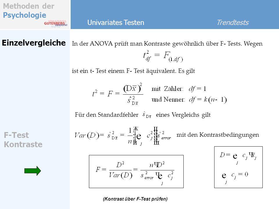 Einzelvergleiche F-Test Kontraste Univariates Testen Trendtests