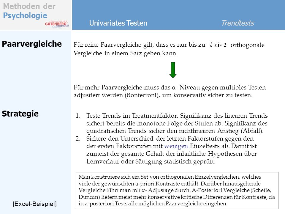 Paarvergleiche Strategie Univariates Testen Trendtests