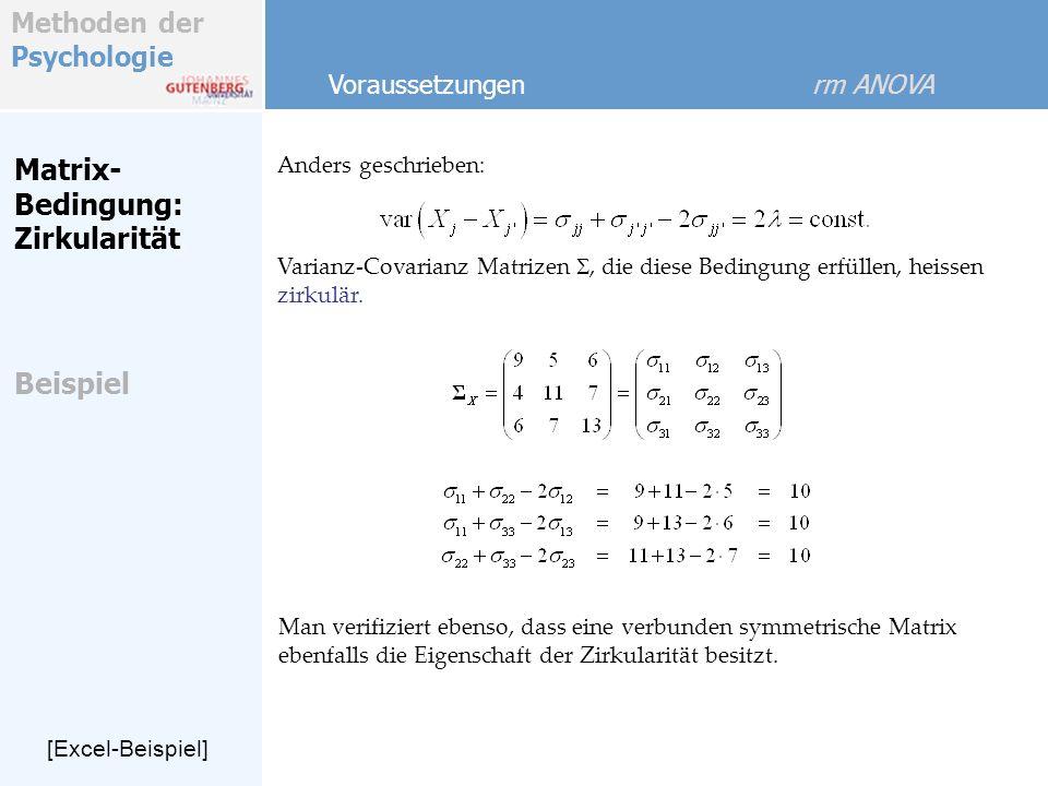 Matrix-Bedingung: Zirkularität Beispiel Voraussetzungen rm ANOVA