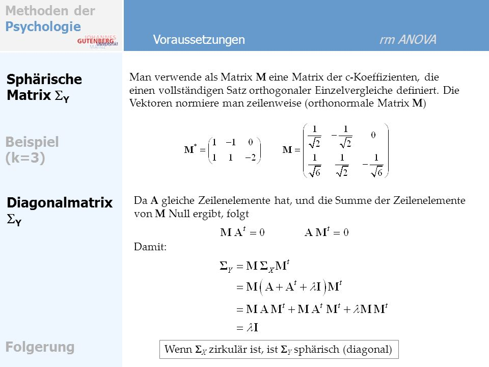 Sphärische Matrix SY Beispiel (k=3) Diagonalmatrix SY Folgerung