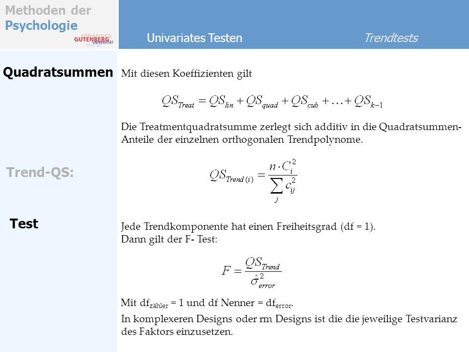 Quadratsummen Trend-QS: Test Univariates Testen Trendtests
