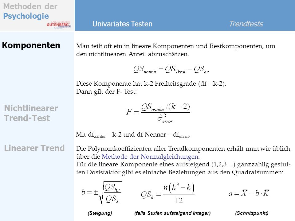Komponenten Nichtlinearer Trend-Test Linearer Trend