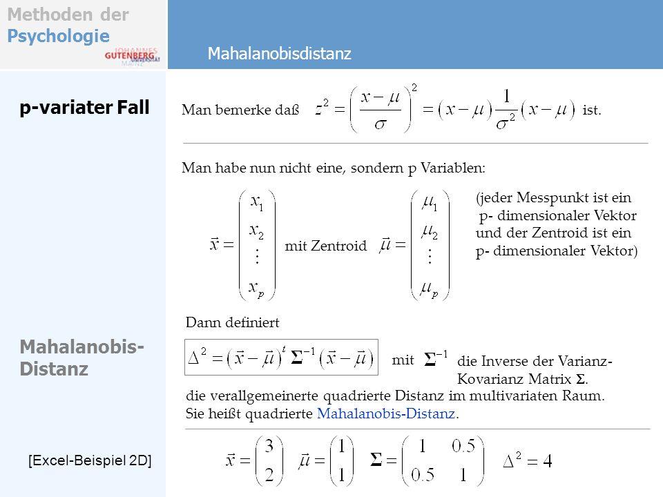 p-variater Fall Mahalanobis- Distanz Mahalanobisdistanz