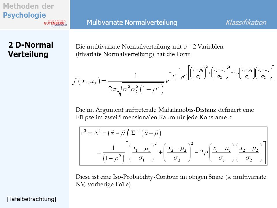 2 D-Normal Verteilung Multivariate Normalverteilung Klassifikation