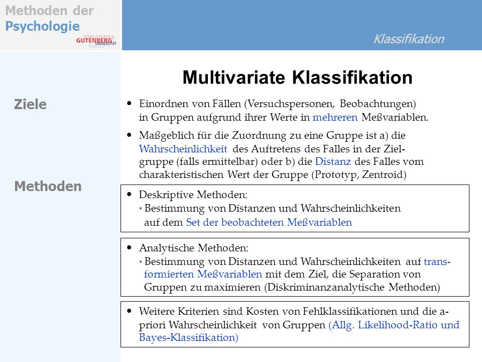 Multivariate Klassifikation