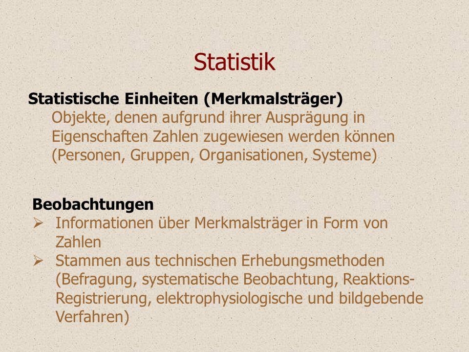 Statistik Statistische Einheiten (Merkmalsträger)