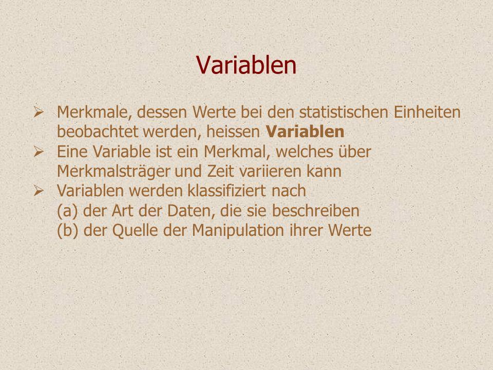 Variablen Merkmale, dessen Werte bei den statistischen Einheiten beobachtet werden, heissen Variablen.