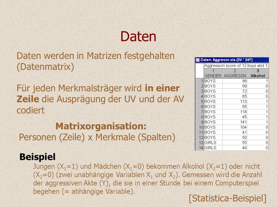 Daten Daten werden in Matrizen festgehalten (Datenmatrix)
