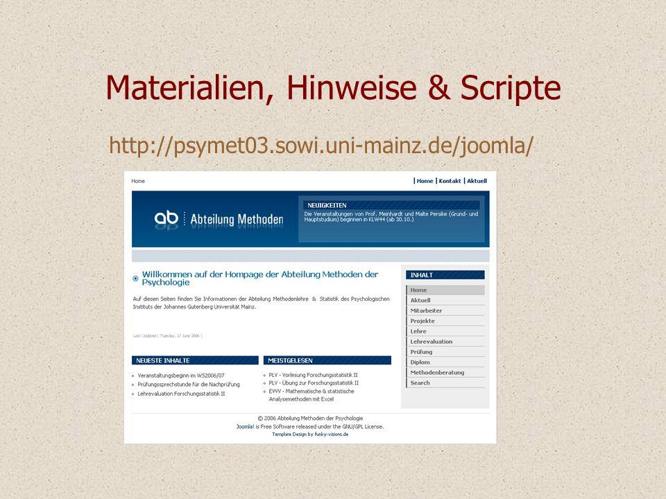 Materialien, Hinweise & Scripte