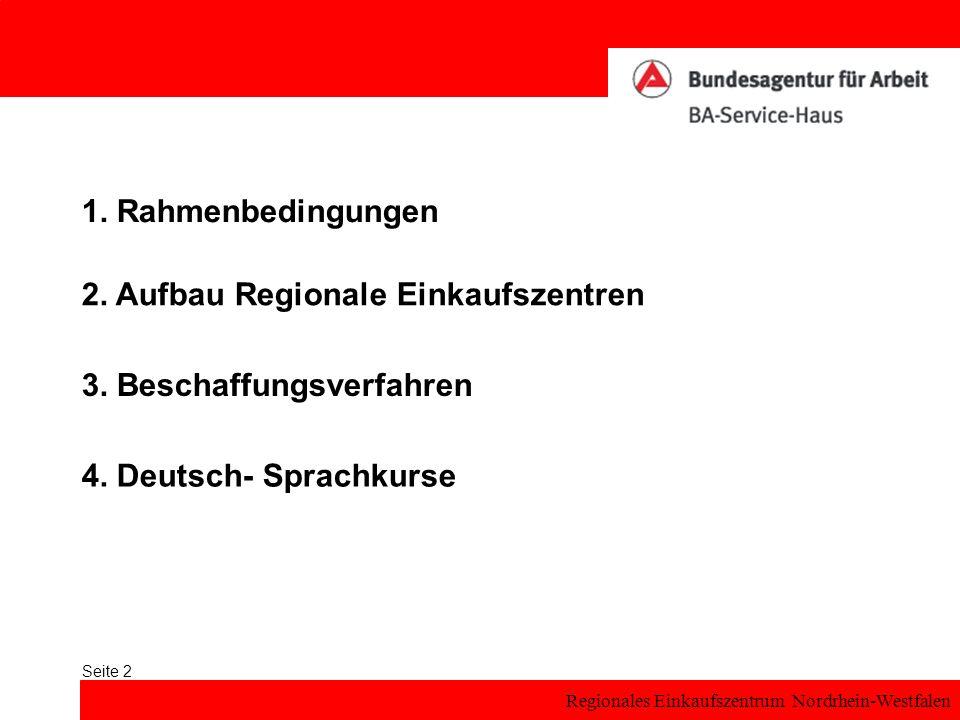 1. Rahmenbedingungen 2. Aufbau Regionale Einkaufszentren.