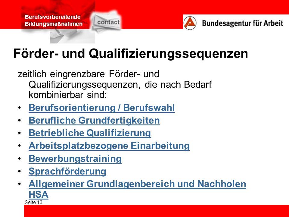 Förder- und Qualifizierungssequenzen