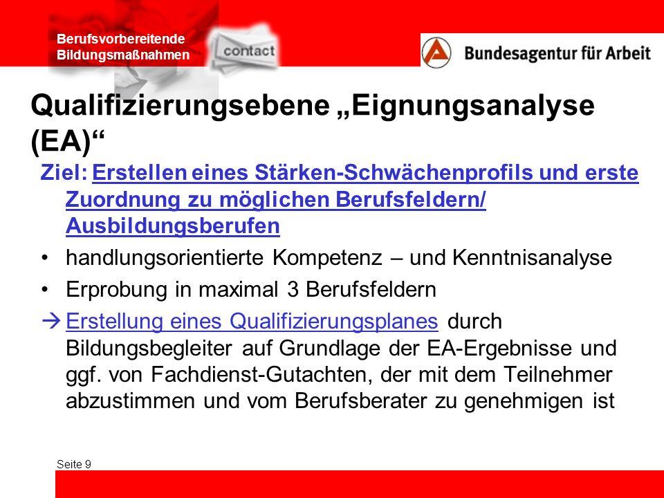 "Qualifizierungsebene ""Eignungsanalyse (EA)"
