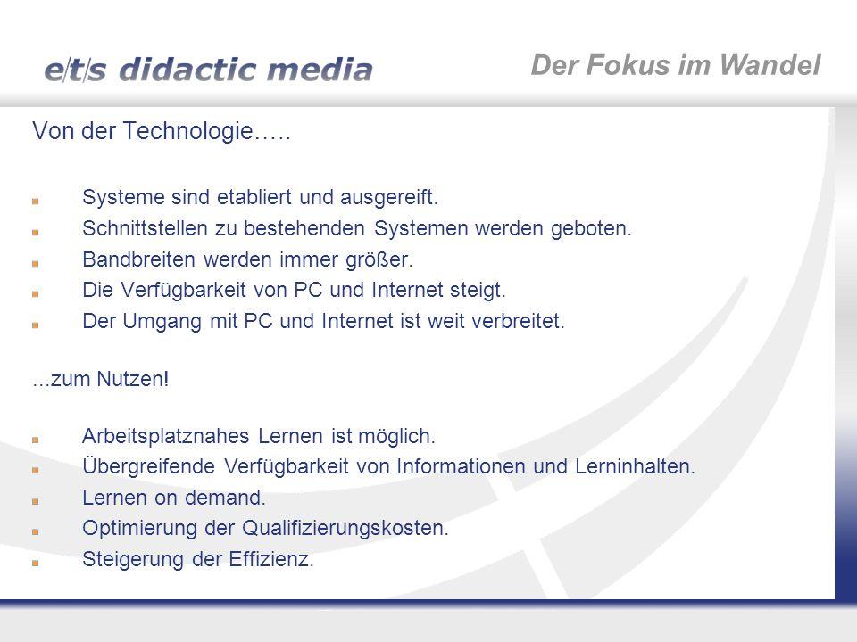 Der Fokus im Wandel Von der Technologie…..