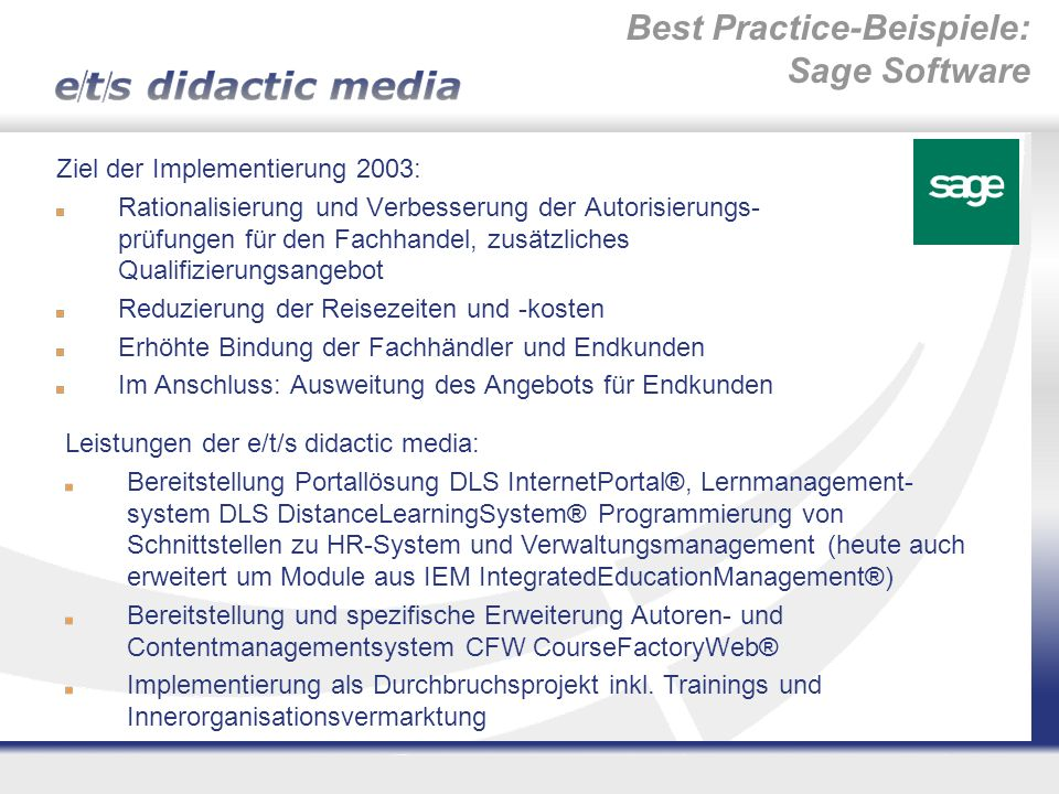 Best Practice-Beispiele: Sage Software