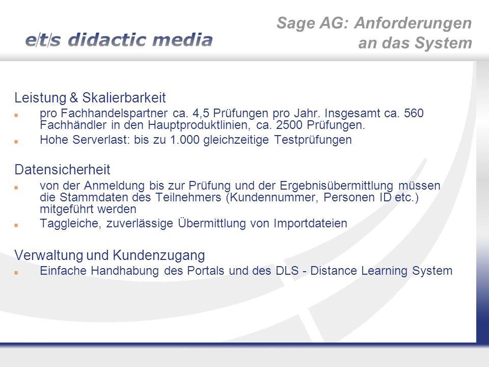 Sage AG: Anforderungen an das System