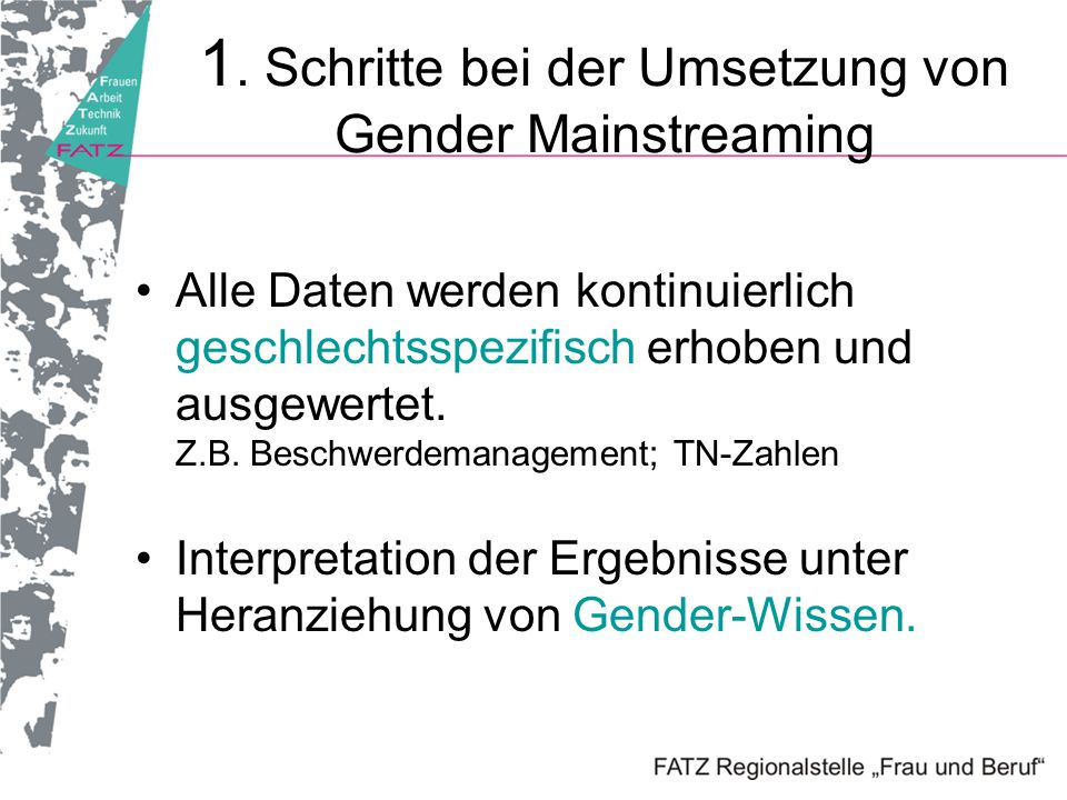 1. Schritte bei der Umsetzung von Gender Mainstreaming
