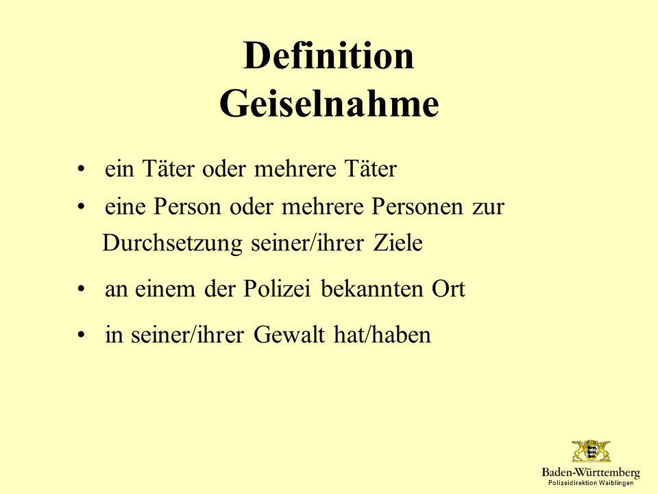 Definition Geiselnahme