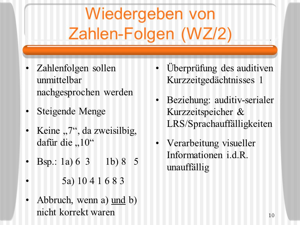 Wiedergeben von Zahlen-Folgen (WZ/2)