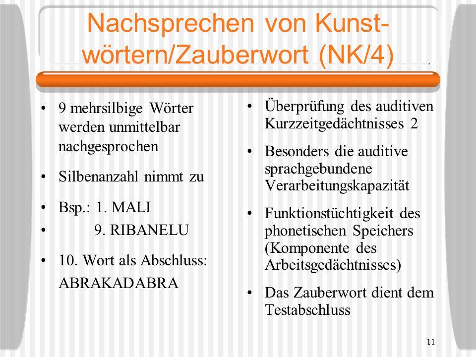 Nachsprechen von Kunst-wörtern/Zauberwort (NK/4)