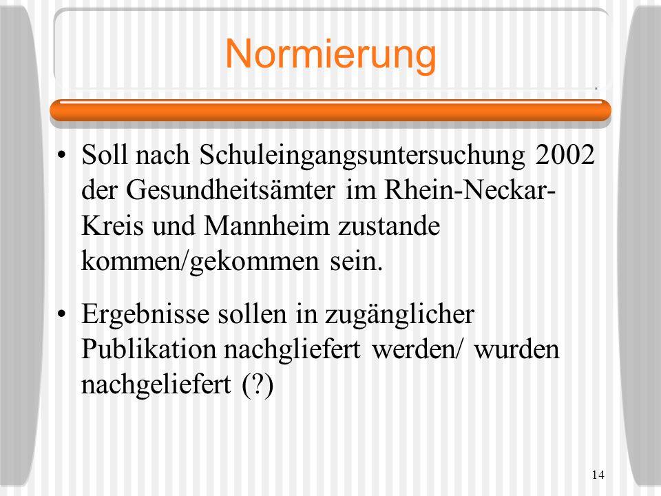 Normierung Soll nach Schuleingangsuntersuchung 2002 der Gesundheitsämter im Rhein-Neckar-Kreis und Mannheim zustande kommen/gekommen sein.