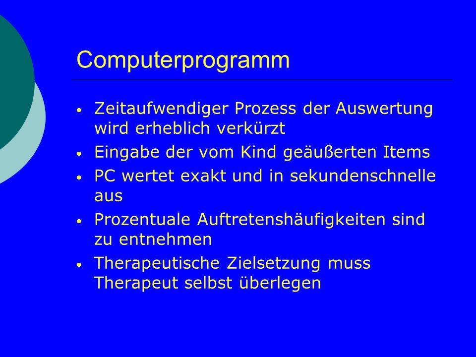 Computerprogramm Zeitaufwendiger Prozess der Auswertung wird erheblich verkürzt. Eingabe der vom Kind geäußerten Items.