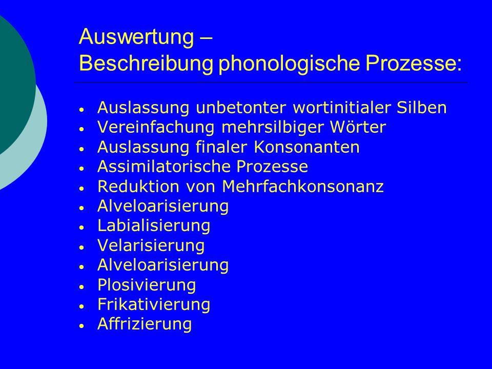 Auswertung – Beschreibung phonologische Prozesse:
