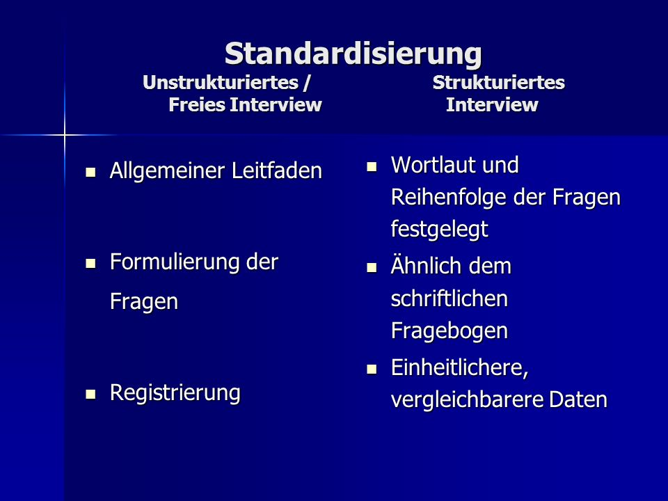 Standardisierung Unstrukturiertes / Strukturiertes Freies Interview Interview