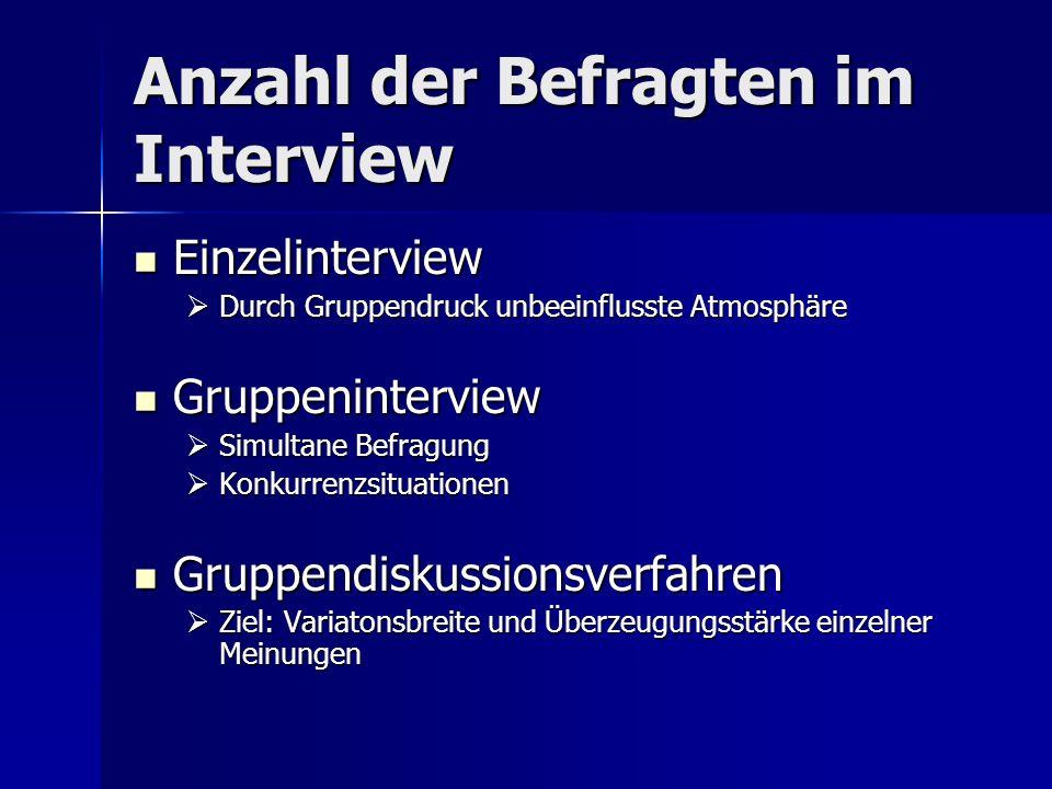 Anzahl der Befragten im Interview