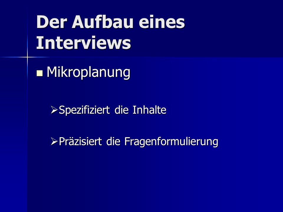 Der Aufbau eines Interviews