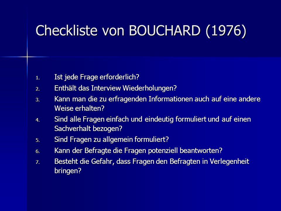 Checkliste von BOUCHARD (1976)