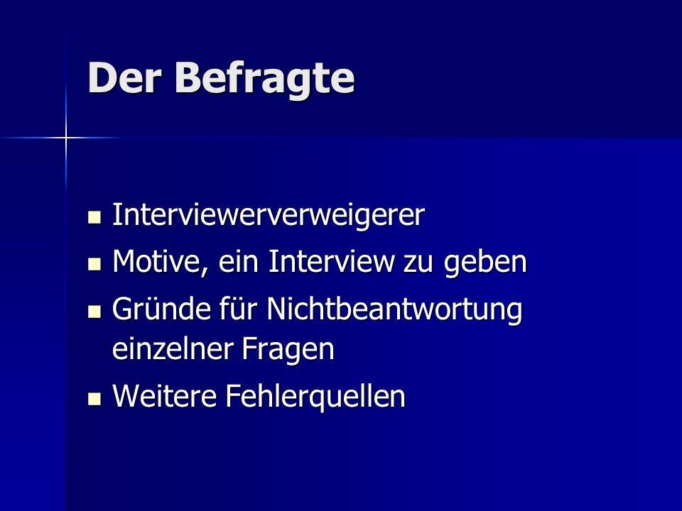 Der Befragte Interviewerverweigerer Motive, ein Interview zu geben