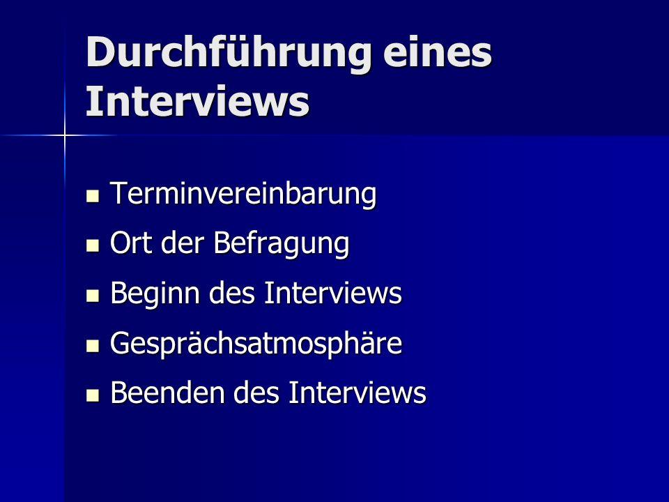 Durchführung eines Interviews