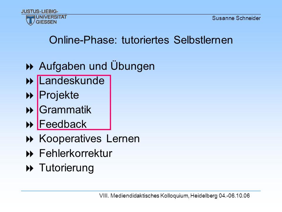 Online-Phase: tutoriertes Selbstlernen