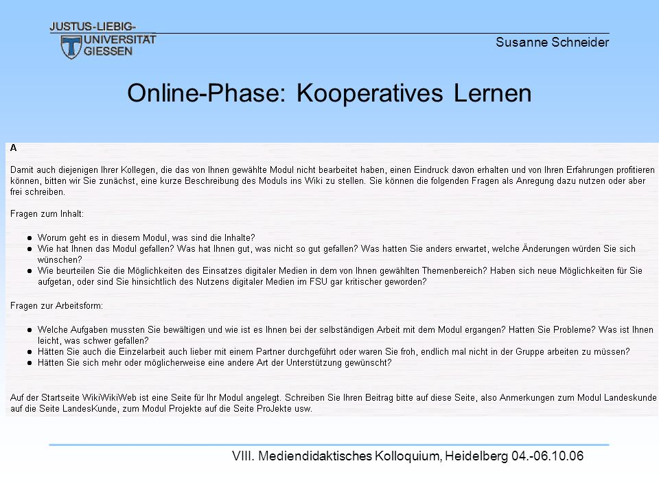 Online-Phase: Kooperatives Lernen