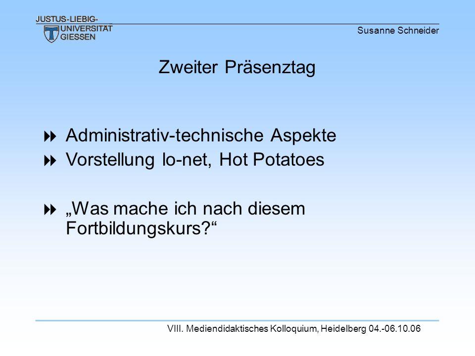 Administrativ-technische Aspekte Vorstellung lo-net, Hot Potatoes