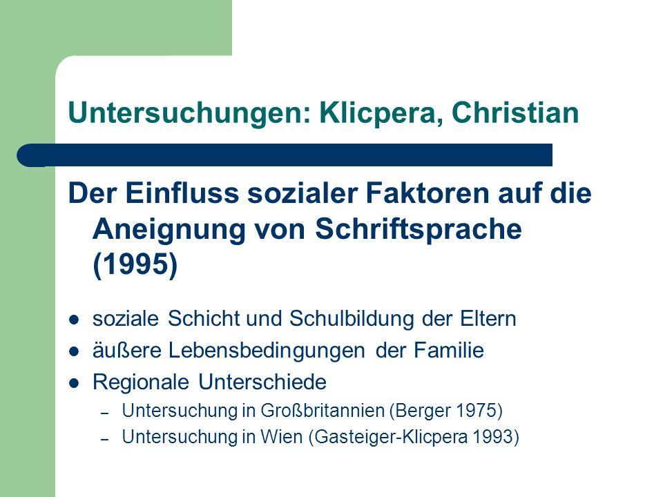 Untersuchungen: Klicpera, Christian